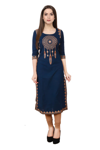 thelaila Navy Cotton Straight Kurti