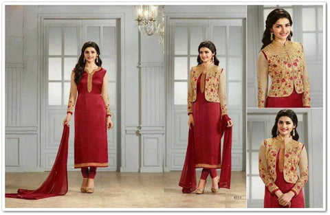 Maroon Pure Georgette + Pure Silk Crepe Heavy Emb Top And Santton Bottom With Chiffon Dupatta Plus Extra Jacket