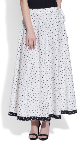 Very Me Printed Women's Pleated White Skirt