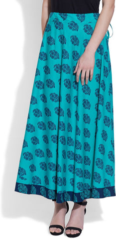 Very Me Printed Women's Pleated Blue Skirt