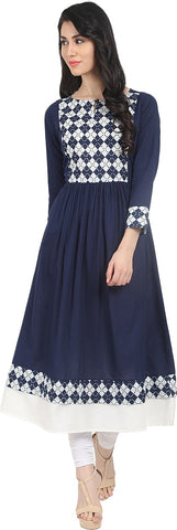 Nayo Women's Printed Anarkali Kurta  (Blue)