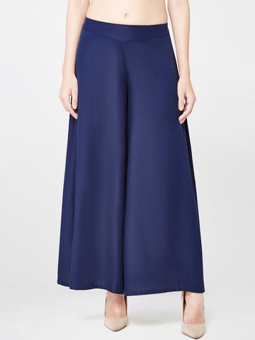 DARZI Flared Women's Blue Trousers