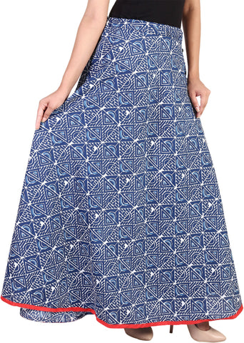 Home Shop Gift Printed Women Broomstick Blue Skirt