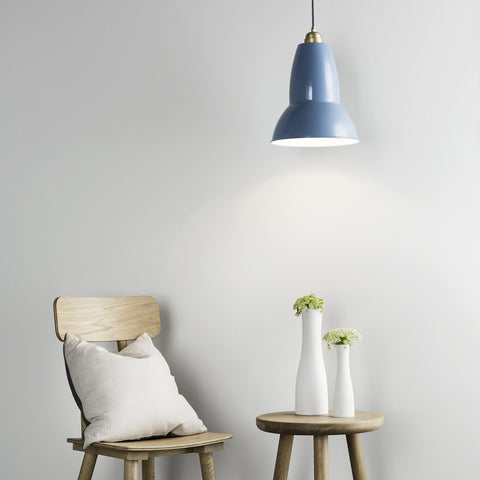 Anglepoise Original 1227 Brass Maxi Pendant Dusty Blue 3