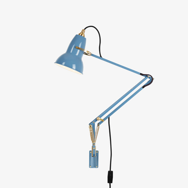 Anglepoise Original 1227 Brass Wall Mounted Lamp Dusty Blue
