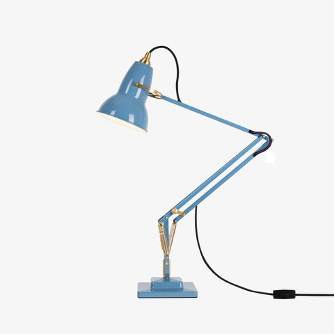Anglepoise Original 1227 Brass Desk Lamp Dusty Blue 1