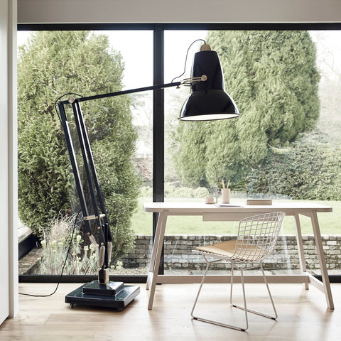 Anglepoise Original 1227 Giant Brass Floor Lamp Deep Slate