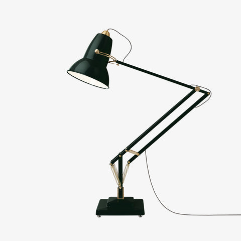 Anglepoise Original 1227 Giant Brass Floor Lamp Midnight Green