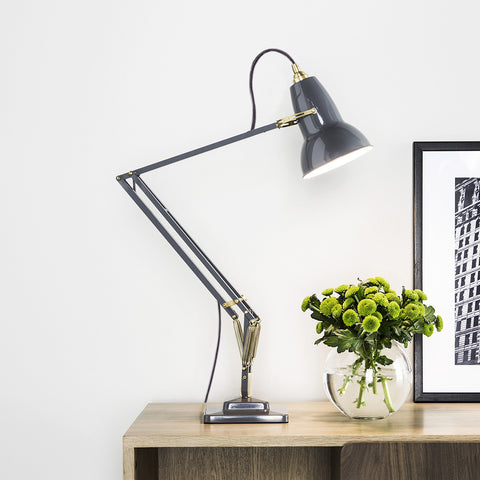 Anglepoise Original 1227 Brass Desk Lamp Elephant Grey 2