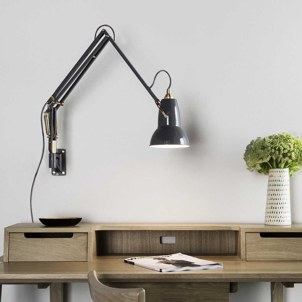 Original 1227 brass wall mounted lamp modern lamp anglepoise anglepoise original 1227 brass wall mounted lamp elephant grey 3 mozeypictures Gallery
