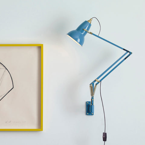 Anglepoise Original 1227 Brass Wall Mounted Lamp Dusty Blue 2