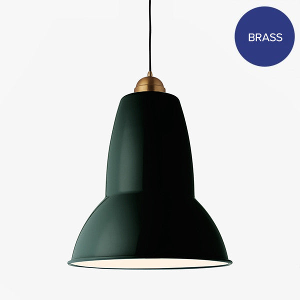 Anglepoise Original 1227 Giant Brass Pendant Midnight Green