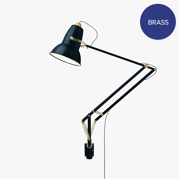 Anglepoise Original 1227 Giant Brass Wall Mounted Lamp Ink Blue