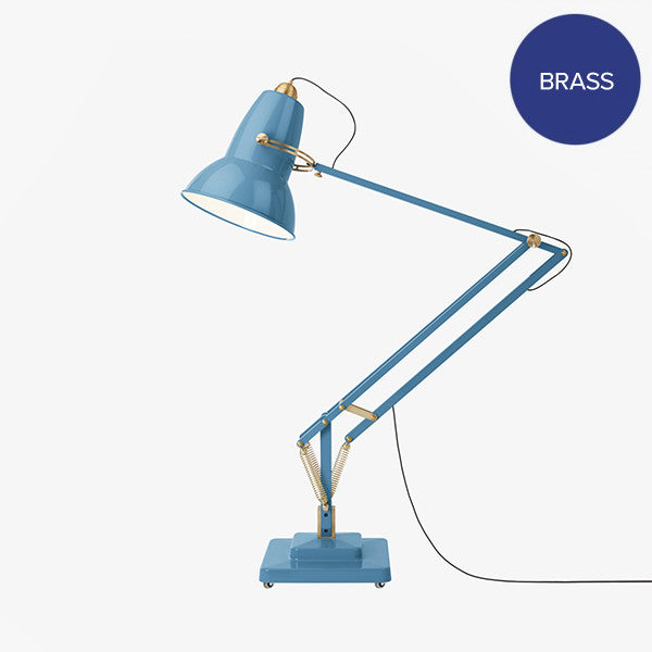 Anglepoise Original 1227 Giant Brass Floor Lamp Dusty Blue