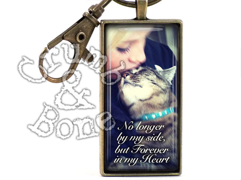 Cat Memorial Keychain with Custom Text - Crumb & Bone