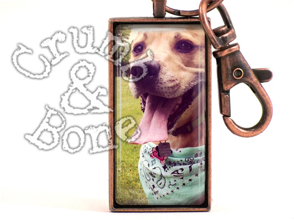 Dog Memorial Keychain in Ant. Copper - Crumb & Bone