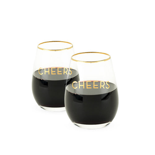 Cheers Stemless Wine Glasses - Set of 2 - Tulle and Twig