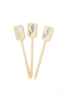 Holographic Mermaid Wooden Drink Stirrers