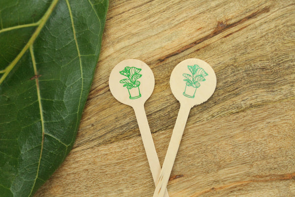 Fiddle Leaf Fig Plant Drink Stirrer