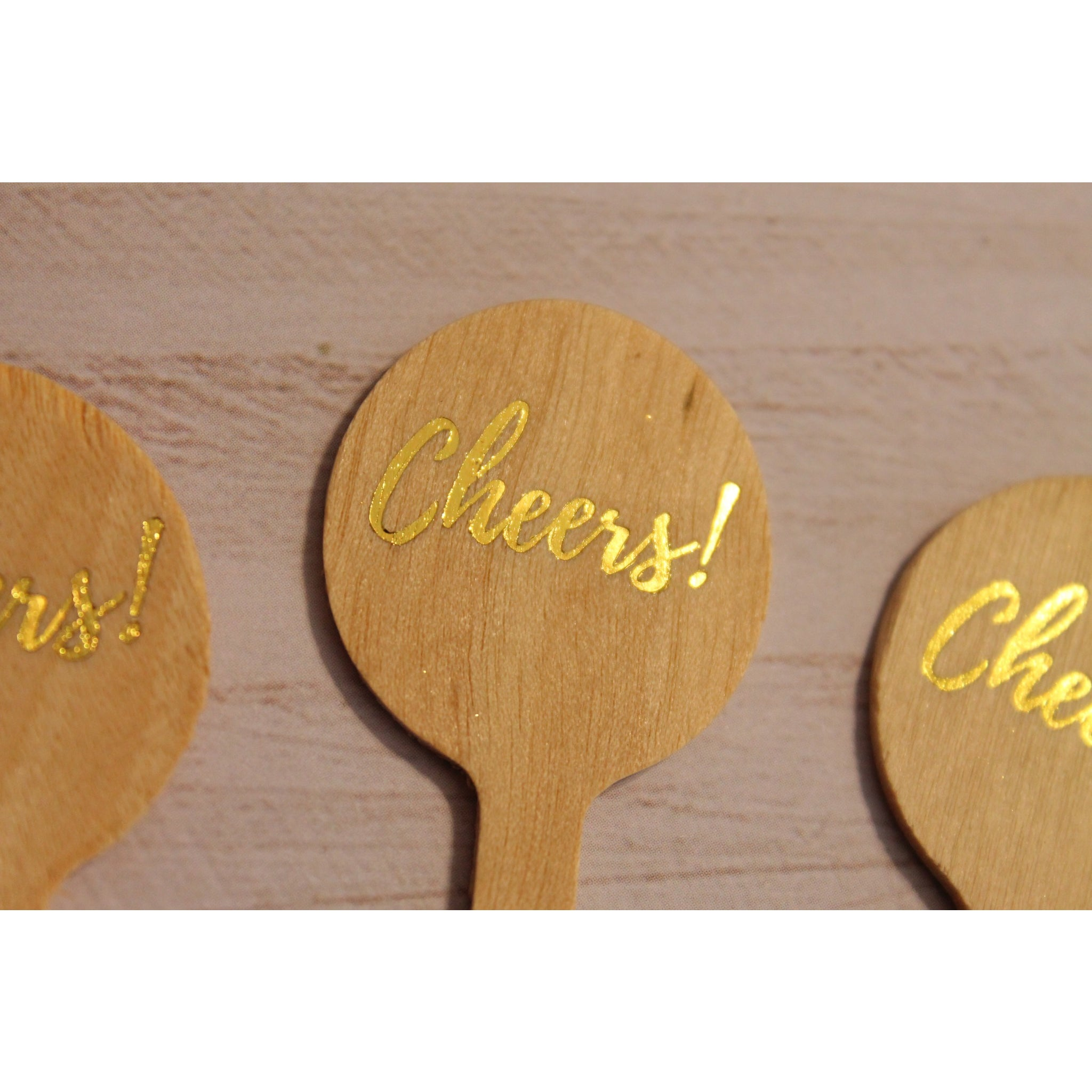 Cheers Gold Foil Drink Stirrers - Tulle and Twig