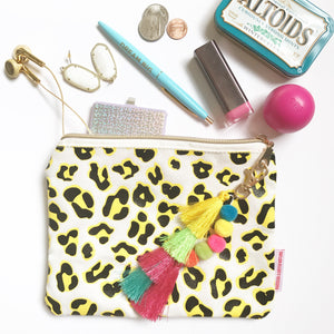 leopard print canvas pouch with pom pom and tassel