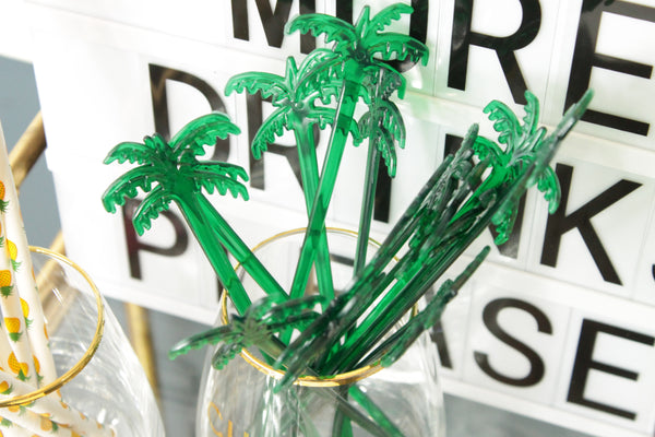 25 Palm Tree Drink Stirrers Free Shipping - Tulle and Twig