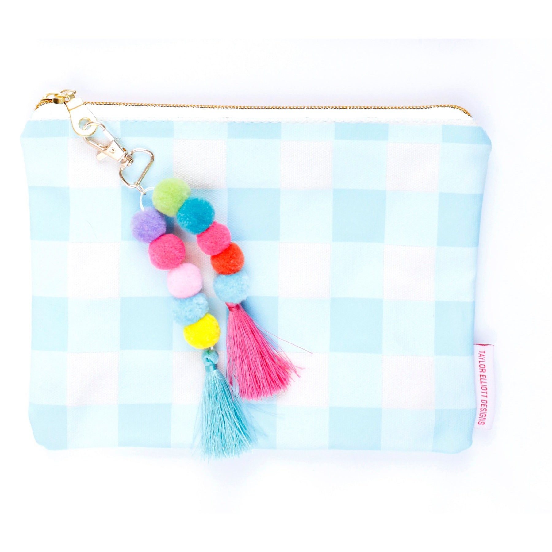 Blue Gingham Pouch with Pom and Tassel Keychain - Tulle and Twig