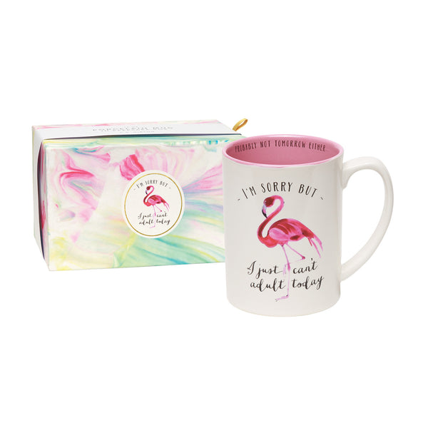 I Can't Adult Today Coffee Mug - Flamingo with Gift Box - Tulle and Twig