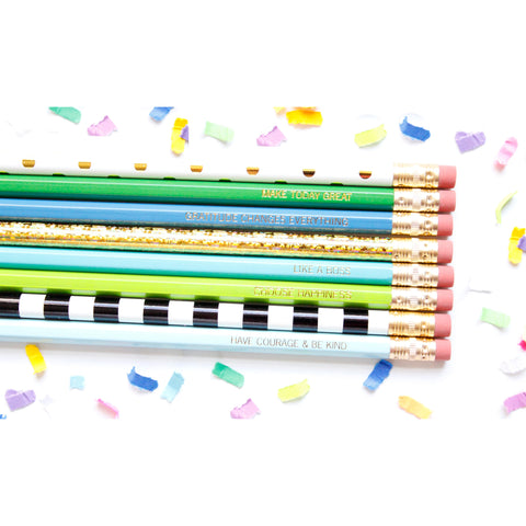 Pep Talk Pencils - Blue Set of 8 - Tulle and Twig