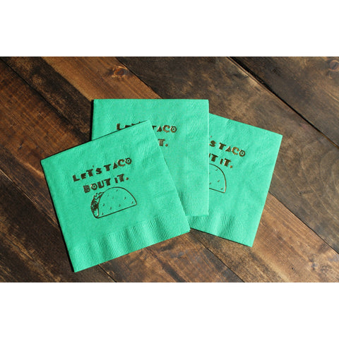 """Let's Taco Bout It"" Cocktail/Beverage Napkins Gold Foil FREE SHIPPING - Tulle and Twig"