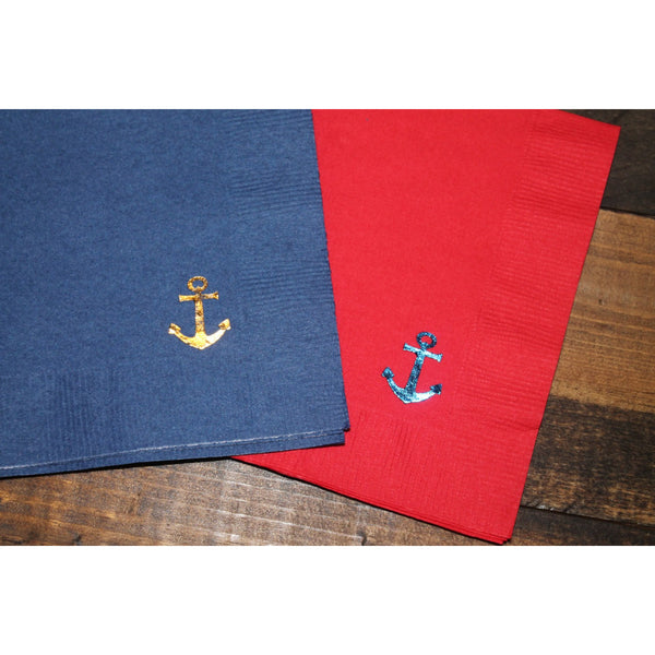 25  Anchor FOIL STAMPED Cocktail/Beverage Napkins FREE SHIPPING - Tulle and Twig