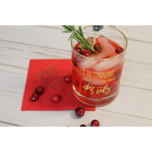"REAL 22K GOLD FOIL ""It's Beginning to look a lot like Cocktails""  Double Old Fashion Rocks Glass - Tulle and Twig"
