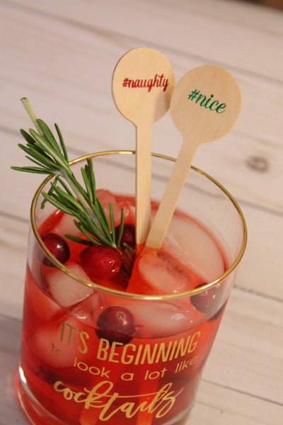 Naughty or Nice Red and Green Foil  Christmas Wooden Coffee or Drink Stirrers