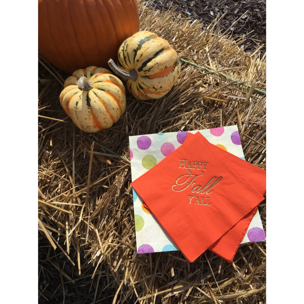 "50 ""Happy Fall Y'all"" Design Cocktail/Beverage Napkins - Tulle and Twig"