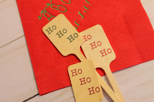 Ho Ho Ho Christmas Wooden Coffee or Drink Stirrers