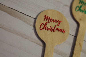 Merry Christmas  Christmas Wooden Coffee or Drink Stirrers in Red and Green Foil