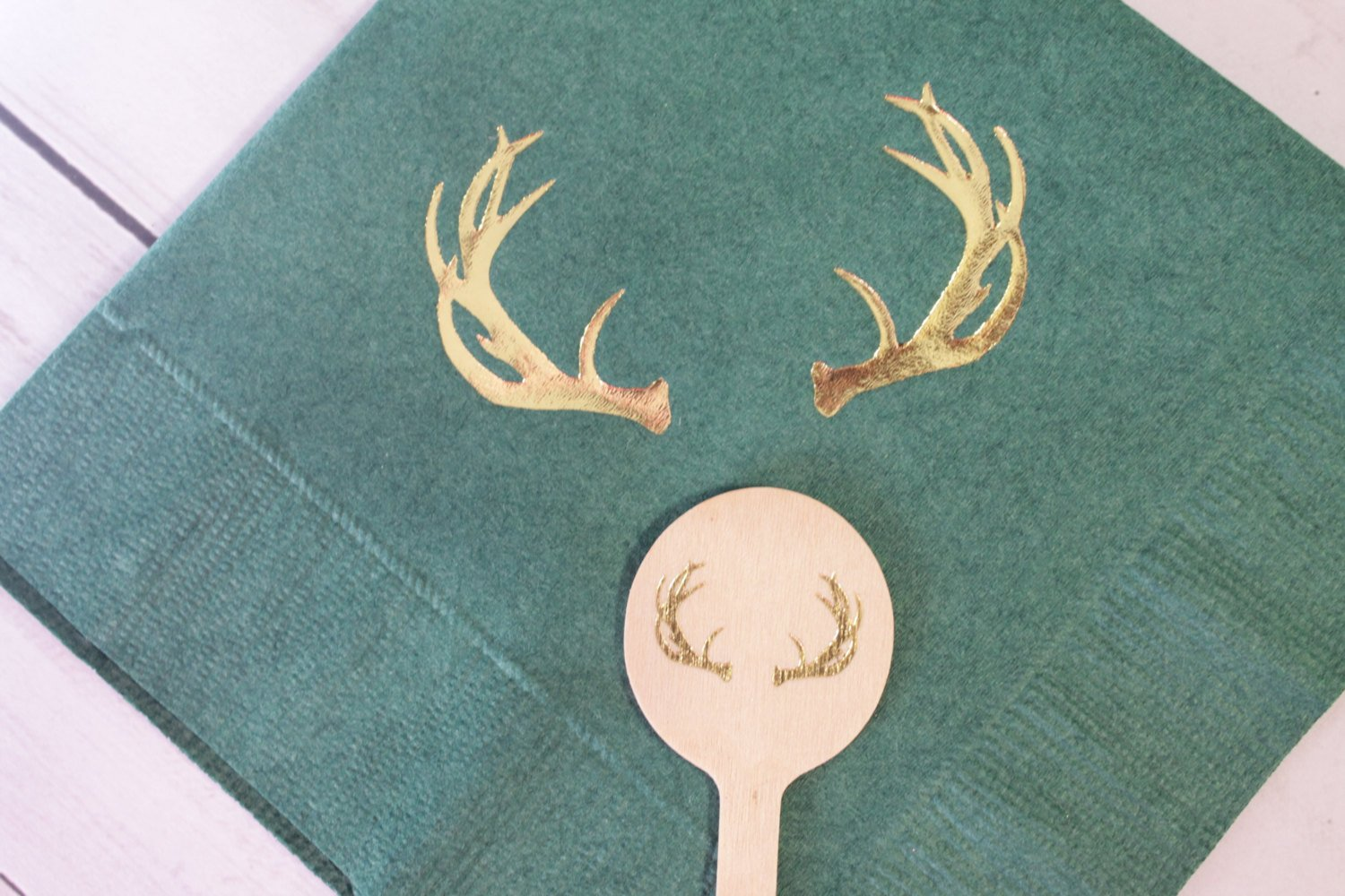 Antler Christmas Wooden Coffee or Drink Stirrers in Gold Foil