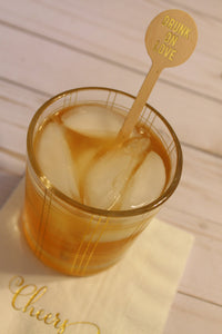 Drunk on Love    GOLD FOIL Wooden Drink Stirrers ~ Choose your Quantity ~ Perfect for WEDDINGS