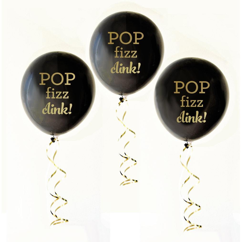 Pop Fizz Clink latex Ballons Black and Gold Set of 3 - Tulle and Twig