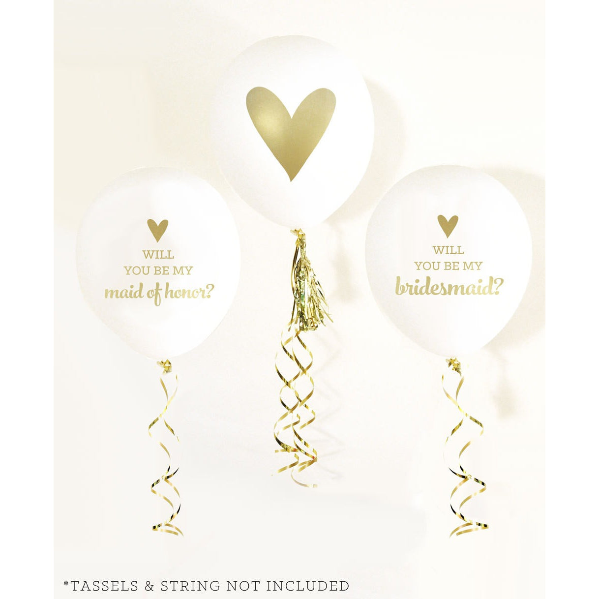 Will you be my Bridesmaid?  latex Balloons White and Gold Set of 4 - Tulle and Twig