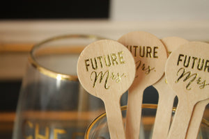 Future Mrs. GOLD FOIL Wooden Drink Stirrers