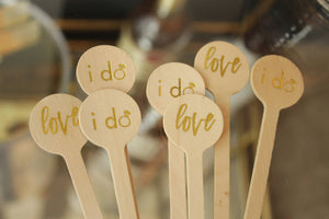 "Wedding Drink Stirrers ""i do"" & ""love"" designs in Gold Foil"