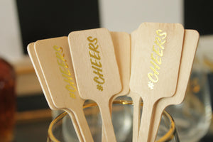 Drink Stirrers with #CHEERS in Gold foil