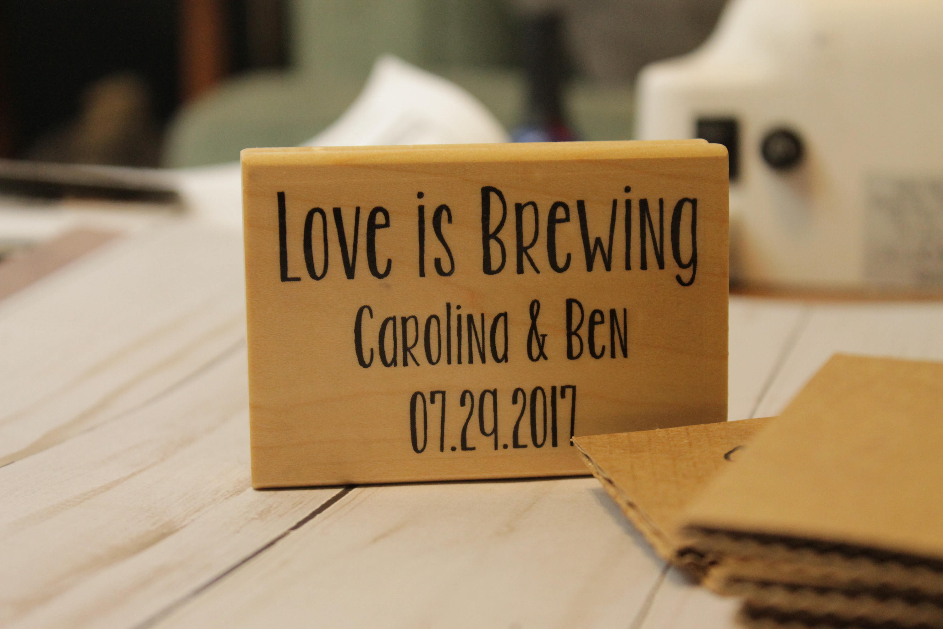 Rubber Stamp for Wedding - Coffee Sleeves, Napkins, Paper and more!
