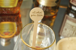 alcohol you later Drink Stirrers in gold and pink foil