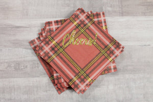 "Red Tartan ""Cheers!"" Gold Foil Napkins"