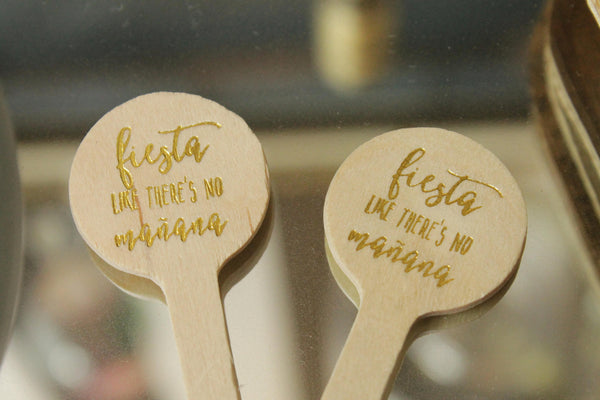 Fiesta like there's no mañana drink stirrers in Gold foil