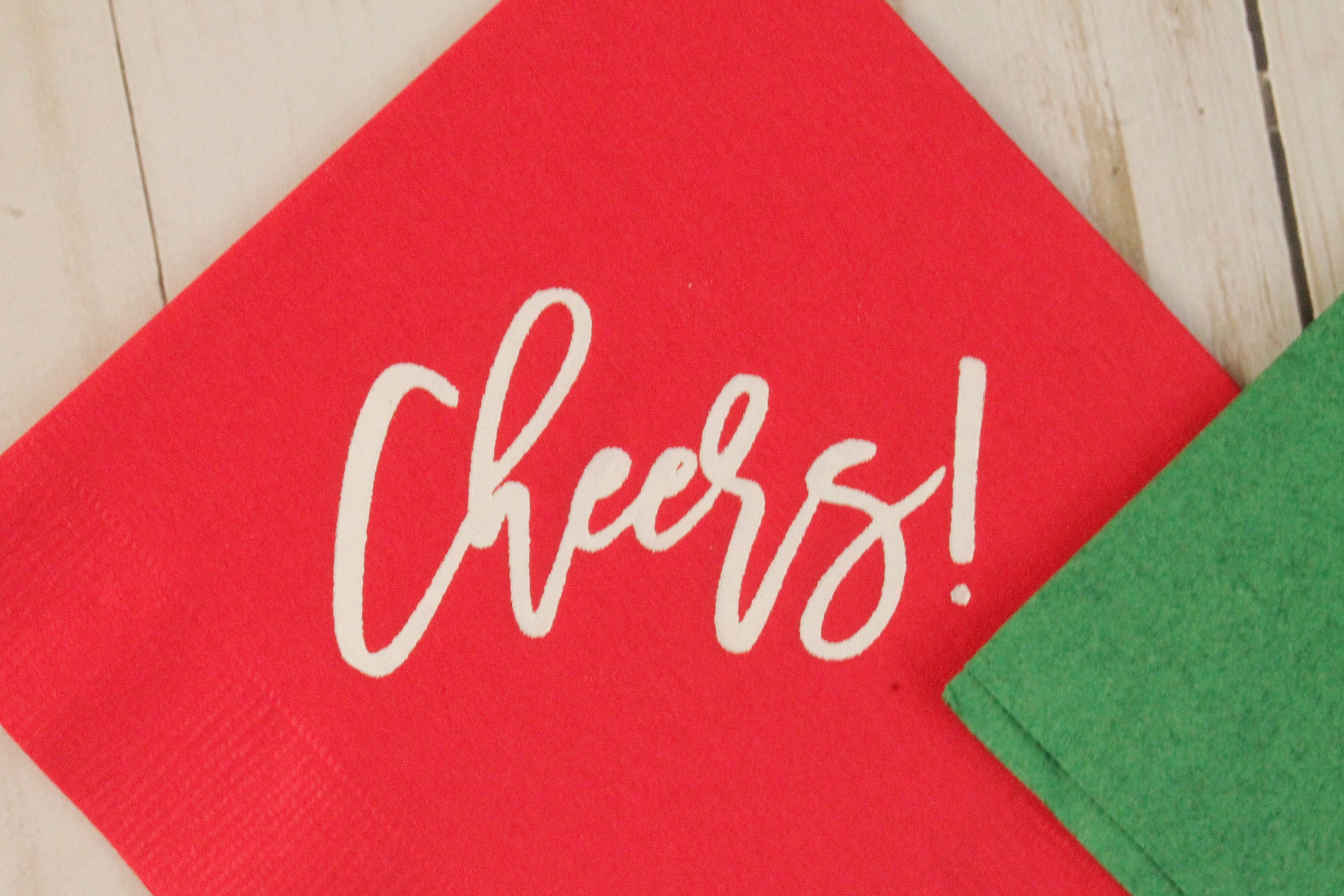 Cheers! Cocktail Napkins in Holiday Colors