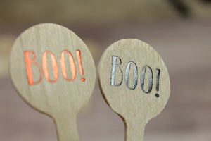 Boo! Orange and Black Foil Drink Stirrers