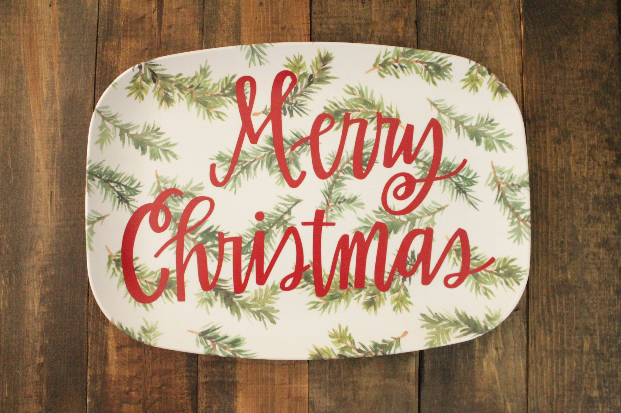 Merry Christmas Evergreens Melamine Platter